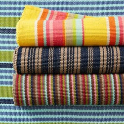 Garnet Hill - Bertie Striped Indoor/Outdoor Woven Rug - Bertie Frog Stripe - 2 X 3 - Completely reversible, these handwoven rugs deck out the floor with jaunty patterns resembling nautical sails, cabana awnings or designer wallpaper. Rendered in soft, resilient polypropylene that is water and fade resistant, it's ideal for high-traffic areas and protected outdoor spaces.