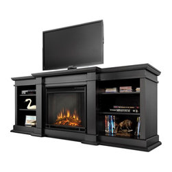 "Real Flame - Fresno Electric Fireplace in Black - 1400 Watt heater, rated over 4700 BTUs per hour. Programmable thermostat with display in Fahrenheit or Celsius. Ultra Bright LED technology with 5 brightness settings. Digital readout display with up to 9 hours timed shut off. Dynamic ember effect. Fireplace includes wooden mantel, firebox, screen, and remote control.. Solid wood and veneered MDF construction. Fits up to a 50"" diagonal TV - 100lb. weight limit.. Shelf dimensions: 17"" x 14.5"". 71.73 in. W x 19 in. D x 29.88 in. H (170 lbs.)Enjoy the beauty of a Real Flame Electric fireplace, this substantialfreestanding fireplace also doubles as an entertainment center. This unit is able to hold a television of 100 lbs. or less and has adjustable shelving toaccommodate most electronics. The Vivid Flame Electric Firebox plugs into any standard outlet for convenient set up. The features include remote control, programmable thermostat, timer function, brightness settings and ultra bright Vivid Flame LED technology."