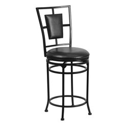 "Flash Furniture - 24"" Black Metal Counter Height Stool with Black Leather Swivel Seat - This gracefully styled stool will add an elegant finish to your kitchen, dining room or bar area. The curvaceous frame and attractive powder coated finish will complement any decor. The plush padded seat looks and feels great. A full 360 degree swivel and footrest ring provides comfort and ease."