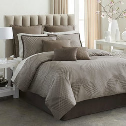 Modern Living Mercer Comforter Set - The Modern Living Mercer Comforter Set is the perfect blend of masculine and feminine. Its neutral color palette includes mocha and mauve. A spiral geometric pattern adds style. The woven cotton jacquard comforter has a knife edge and reverses to a solid. The bedskirt and two coordinating pillow shams give a tailored look. All pieces are machine-washable in the gentle cycle and may be tumbled dry on low.Comforter Dimensions:Full: 90L x 86W in.Queen: 96L x 92W in.King: 96L x 110W in.California King: 96L x 110W in.