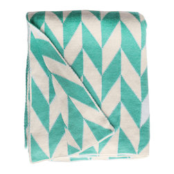 Fab Habitat - Fab Habitat Throws - Monroe-Turquoise & Natural - Fab Habitat features knitted cotton throws in vivid colors and patterns. From our renowned Metro collection, these throws are certain to keep you warm from the cold of winter and add a perfect accent to your sofa or bed.