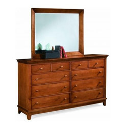 "American Drew 181-130C Triple Dresser- Cherry Sterling Pointe - Triple Dresser- Cherry - American Drew Sterling Pointe Collection 181-130CTriple Dresser from American Drew Sterling Pointe Collection is a collection of bedroom furniture with simple lines but spectacular possibilities. This collection displays furniture pieces that can easily capture any lifestyle and work in any setting. The Dresser has Cherry finish .The triple dresser comes with 8 drawers with dimension of 62 W x 19 D x 39 H.Each case piece comes with matching case color knobs and polished chrome knobs. The dresser flaunts the classic style and beautiful details evoke serenity and timeless charm in your bedroom.The Mirror is sold separately.Features:8 DrawersThis Price Includes:Triple Dresser onlyMirror sold separately belowItem:Weight:Dimensions:Triple Dresser- Cherry194 lbs62"" W X 19"" D X 39"" HManufacturer's Materials:Maple and Hardwood SolidsMaple & Poplar Veneers & Simulated Wood Components"