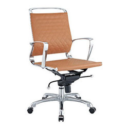 """LexMod - Vibe Lowback Office Chair in Tan - Vibe Lowback Office Chair in Tan - Instill some panache to your office with a chair that says it all. Vibes modern style reverberates from start to finish. From its diamond patterned leather seat and back, to its high polished chrome frame, if ever there was a chair that turned seating into an artform it would be Vibe. Conveniently adjust your seating position with an easy to use seat tilt lever.The five-star hooded chrome base comes fitted with casters appropriate for any floor. Vibe is also height adjustable with its powerful pneumatic lift. The upward angle of the arms both adds to the distinguished nature of the piece, and helps you properly position your wrists for typing. The chair also comes fully equipped with a tension knob that allows you to personalize the back tilt to fit your particular build and posture. Vibe works just as well in smaller spaces as it does in spacious conference rooms. If youre looking for a modern chair with a bit of vivacity to it, then youve found your match. Set Includes: One - Vibe Modern Leather Lowback Office Chair Perfect modern office chair, Chrome metal frame, Recline at any angle, Five dual-wheel casters, Tension knob for tilt control, Pneumatic height adjustment, Some assembly required Overall Product Dimensions: 19""""L x 26.5""""W x 37 - 39""""H Seat Height: 17.5 - 19.5""""H Armrest Height: 26 - 28""""H - Mid Century Modern Furniture."""