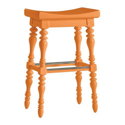 Stanley - Coastal Living Retreat 5 O'Clock Somewhere Bar Stool, Spanish Orange - Island-inspired attitude with details like double-lathed legs, arched seat, and foot rest make this stool anything but ordinary.