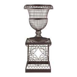 Kathy Kuo Home - French Country Chateau Wire Frame Outdoor Urn Planter - Inspired by the great gardens of France, the French Wire collection is hand bent, twisted and assembled by welding every individual joint and hand tying depending on the style. Each piece is then powder coated for durability.