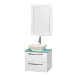 "Wyndham Collection - Amare 24"" Bathroom Vanity Set Bone Sink, White, Green Glass Top - Product Features"