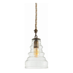 Arteriors Home - Arteriors Home Wesley Glass/Antique Brass Pendant - Arteriors Home 46758 - Arteriors Home 46758 - The Wesley Pendant from Arteriors features antique brass details and a fluted vintage glass shade. Jute is wrapped along the wire for a rustic finish. Add an antique radio bulb to offset this pendant's vintage charm.