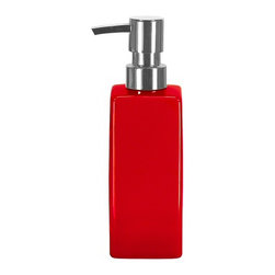 Modern Porcelain Bathroom Liquid Soap Dispenser - 11.8oz, Red - Unique luxury soap dispenser with a square design.  High quality porcelain bathroom accessory designed and produced in Germany.  This contemporary bath accessory has a chrome pump and holds 11.8 ounces of soap or lotion.  Perfect for any counter top.