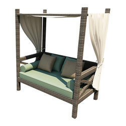 Forever Patio - Hampton Outdoor Canopy Day Lounger, Heather Wicker and Spa Cushions - Relax in total comfort with the generously-sized and chic Forever Patio Hampton Modern Outdoor Wicker Canopy Day Lounger with Turquoise Sunbrella cushions (SKU FP-HAM-CPL-HT-SP). The UV-protected, heather wicker sports a flat woven design, creating a contemporary look with clean lines. Each strand of this outdoor wicker is made from High-Density Polyethylene (HDPE) and is infused with its rich color and UV-inhibitors that prevent cracking, chipping and fading ordinarily caused by sunlight. This outdoor day lounger is supported by thick-gauged, powder-coated aluminum frames that make it more durable than natural rattan.This lounger includes fade- and mildew-resistant Sunbrella cushions, throw pillows and bolster pillows for added comfort in your outdoor space.