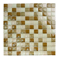 "Glass Tile Oasis - Khaki Tan Blend 1"" x 1"" Cream/Beige Crystile Blends Glossy Glass - Our Crystile Series offers a wide range of hues to suit your mood and your style! The vibrancy and depth of our crisp, smooth glass results in a unique and dramatic effect for use in both residential and commercial installations."