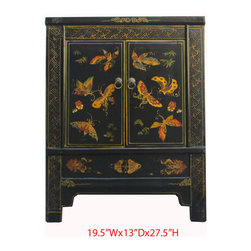 Black Rainbow Butterfly Painting Nightstand End Table Chinese Cabinet - This is a Chinese black rainbow butterfly painting nightstand end table which is made of solid elm wood.