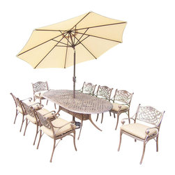 Oakland Living - 11-Pc Outdoor Dining Set - Includes one oval dining table, 9 in. tilt crank umbrella with stand, eight cushioned chairs and metal hardware. Fade, chip and crack resistant. Traditional lattice pattern and scroll work. Handcasted. Umbrella hole table top. Hardened powder coat. Warranty: One year limited. Made from rust free cast aluminum. Antique bronze finish. Minimal assembly required. Chair: 21.5 in. W x 23 in. D x 34 in. H (27 lbs.). Table: 84 in. L x 42 in. W x 29 in. H (99 lbs.). Overall weight: 359 lbs.This dining set is the prefect piece for any outdoor dinner setting. Just the right size for any backyard or patio. We recommend that the products be covered to protect them when not in use. To preserve the beauty and finish of the metal products, we recommend applying an epoxy clear coat once a year. However, because of the nature of iron it will eventually rust when exposed to the elements. The Oakland Mississippi Collection combines southern style and modern designs giving you a rich addition to any outdoor setting.