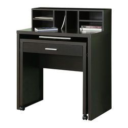 Monarch Specialties - Monarch Specialties 7020 Spacesaver Desk w/ Open Storage in Cappuccino Hollow-Co - This versatile spacesaver desk offers an ideal computer workstation for your home. This hollow-core piece is great for smaller homes or rooms, helping you make the most of your space. The pull-out desk on casters is perfect for your laptop and the built in drawer can be used for storing office supplies. The middle shelf is a great place to keep papers and books organized, while the top hutch contains six compartments for more space. This cool computer desk will be a welcome addition to your home with its solid hardwood and veneer construction wrapped in a deep cappuccino finish, and straight, panels legs.