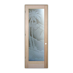 "Sans Soucie Art Glass (door frame material T.M. Cobb) - Interior Glass Door Sans Soucie Art Glass Desert Palms 3D Private - Sans Soucie Art Glass Interior Door with Sandblast Etched Glass Design. GET THE PRIVACY YOU NEED WITHOUT BLOCKING LIGHT, thru beautiful works of etched glass art by Sans Soucie!  THIS GLASS PROVIDES 100% OBSCURITY.  (Photo is View from OUTside the room.)  Door material will be unfinished, ready for paint or stain.  Satin Nickel Hinges. Available in other wood species, hinge finishes and sizes!  As book door or prehung, or even glass only!  3/8"" thick Tempered Safety Glass.  Cleaning is the same as regular clear glass. Use glass cleaner and a soft cloth."