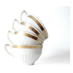 Gold Rim White China Tea Cups - Gold rimmed tea cups in a set of four. La Roux Vintage