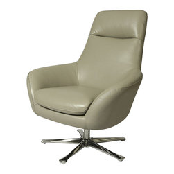 Pastel Furniture - Pastel Ellejoyce Club Chair - Chrome - Top Grain Light Gray Leather - The Ellejoyce club chair with a swivel feature exemplifies handsome proportions and bold character in this beautiful design. This chair is upholstered in top grain white with a brushed chrome sturdy base.
