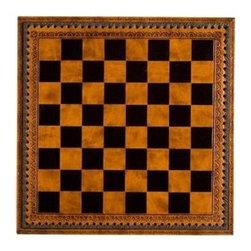 Cambor - Checkers & Chess Game Board w Storage w Brown & Black Tooled Top - Enhanced by a lift top game board that opens to reveal storage for game pieces, this leatherette game board will be a fashionable and functional addition to your game room decor. Finished in black and cocoa brown, the board has tooled accents for added visual interest. Made of Leatherette. Brown/Black color. Tooled Leatherette board with storage. Made in Italy. Squares: 1.125 in.. 11 in. L x 11 in. W x 1.75 in. H (2 lbs.)