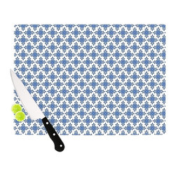 """Kess InHouse - Carolyn Greifeld """"Bohemian Blues III"""" White Blue Cutting Board (11"""" x 7.5"""") - These sturdy tempered glass cutting boards will make everything you chop look like a Dutch painting. Perfect the art of cooking with your KESS InHouse unique art cutting board. Go for patterns or painted, either way this non-skid, dishwasher safe cutting board is perfect for preparing any artistic dinner or serving. Cut, chop, serve or frame, all of these unique cutting boards are gorgeous."""