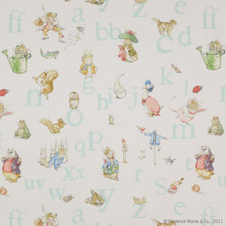 Jane Churchill - Alphabet Beatrix Potter Fabric, Aqua - 1 Yard Minimum Order