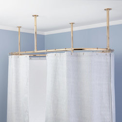 """Myson Heavy-Duty 60"""" x 28"""" Oval Shower Rod - Known for their superior craftsmanship, Myson shower rods deliver lasting beauty and dependable function. Encircle your clawfoot or other freestanding tub with this heavy-duty Oval Shower Curtain Rod, made entirely of brass. Includes four supports for ceiling installation."""