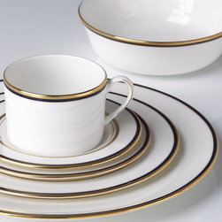Kate Spade New York Library Lane Navy 5-Piece Dinnerware Place Setting - These dishes have a very small hint of navy blue and are so timeless.