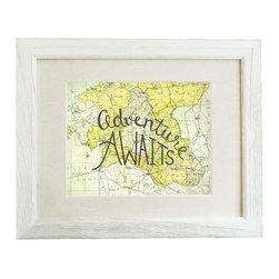 "Adventure Awaits Map Print 8x10 (Frame Not Included) - This original typographic print features the quote ""Adventure Awaits"" hand lettered on a map of eastern Europe. 8x10 unframed giclee print on high quality 100lb felt cover stock. (similar to watercolor paper) Ships flat in protective packaging."