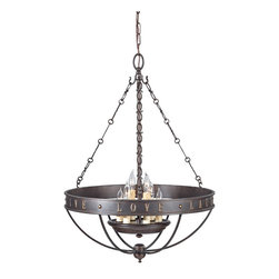 Murray Feiss - Grecian Bronze Live, Laugh, Love 6 Light 1 Tier Chandelier with 72 Chain - Lamping Technologies: