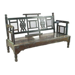 "Pre-owned Sagar Haveli Turquoise Bench - This unique low Sagar Haveli features a  back with mirror inset and hand carved geometric designs. A genuine vintage piece with a swing back mechanism which gives it plenty of personality. Seat height measures 12""."