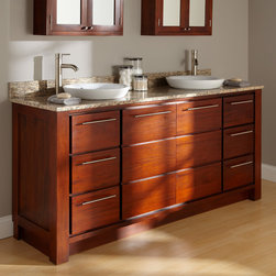 "72"" Venica Mahogany Double Vanity for Semi-Recessed Sinks - Complete your master bath in brilliant style with the 72"" Venica Double Vanity, which harmoniously joins mahogany, porcelain and stone."
