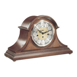 HERMLE - Amelia Mantel Clock With Quartz Movement and Elegant Cherry Finish - Beautifully styled tambour clock in a cherry finish