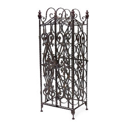 Wine Cabinet - This wine cabinet stores wine bottles on their sides to perfectly preserve your ports and everyday wine indulgences. Its metal frame work and door add a sense of Tuscan style to the piece.