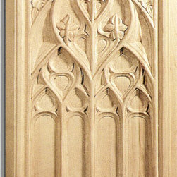 "Inviting Home - Gothic Door Panel - maple wood - Door panel in hard maple wood; 13-1/2""W X 21-1/4""H x 1-1/16""D Wood panels are hand carved from premium selected hardwoods: hard maple cherry and white oak. Panels are carved in deep relief design to achieve the highest degree of quality and details. Carved wood panels are triple sanded ready to accept stain or paint. These wood panels are perfect for wall applications cabinet doors finishing touches on the custom cabinets."