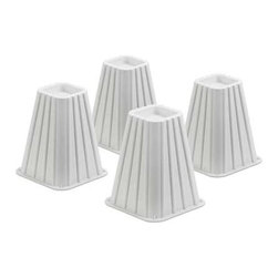 """Bed Risers-Ivory  Set Of 4 - Honey-Can-Do STO-01006 Tall Bed Risers, White.  The set of 4 bed risers provides 7.25"""" of additional under-the-bed space.  Fits posts up to 2.75"""" in diameter or width and boasts a 350lb weight capacity for each riser.  Perfect for dorm rooms, apartments, and kids rooms, where a little extra space can go a long way."""