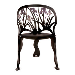Cricket Forge - Iris Chair - The iris takes its name from the Greek word for Rainbow. Our chair is beautifully crafted and hand painted in blacks, purples and golds, evoking that same richness and surprise of color surrounded by stormy darkness. The Iris Chair is the perfect addition to any space indoors or out.