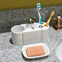 China Bathroom Accessories (Toothbrush, Tumbler, Soap Dish & Dispenser) - White - This vitreous china bathroom accessory set features a sculpted soap or lotion dispenser that fits neatly between the toothbrush holder and tumbler. A separate matching soap dish completes the set.