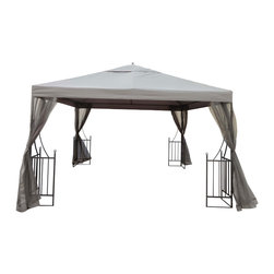 Great Deal Furniture - Doheny Outdoor Steel Gazebo Canopy w/ Beige Net Drapery - The Doheny gazebo offers a fresh and delicate touch to any outdoor space. The polyester covering is a perfect shade solution for any sunny day. The side detailing of the gazebo's steel frame carries an equestrian feel that is complimented with adjustable netting for ventilation and protection from the elements. This piece is perfect for setting over outdoor spas, dining/seating areas, or can be used as a focal point in your backyard or garden.
