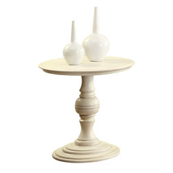 Riverside Furniture - Riverside Furniture Placid Cove Round Pedestal End Table in Honeysuckle White - Riverside Furniture - End Tables - 16706 - Riverside's products are designed and constructed for use in the home and are generally not intended for rental, commercial, institutional or other applications not considered to be household usage.