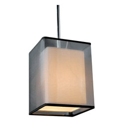 ParrotUncle - Rectangular White Linen Shade Metal Rod Pendant Ceiling Lighting, Black - Rectangular White Linen Shade Metal Rod Pendant Ceiling Lighting