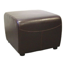 Baxton Studio Borlean Leather Ottoman - Simple in design yet classic in appeal, the Baxton Studios Borlean Ottoman is sure to add a warm and inviting feel to any room you place it in. The bi-cast leather will hold up well to regular use and the hardwood frame will keep the ottoman solid and sturdy for years.