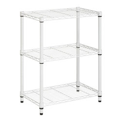 Honey Can Do - 3-Tier Steel Urban Adjustable Storage Shelvin - Color: ChromeThree shelves. Create visible and accessible storage space instantly. Perfect blend of style and functionality. Durable. Withstanding up to 250 lbs. per shelf. Adjustable shelves and stackable components. Lifetime limited warranty. Made from steel. White finish. Assembly required. 24 in. L x 14 in. W x 30 in. H (12.70 lbs.)Combine multiple units to create a customized storage wall. The no-tool assembly allows you to construct in minutes a shelving unit that will last for years.