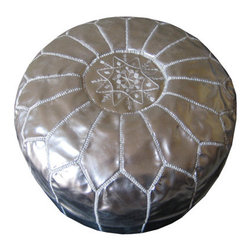 Moroccan Leather Pouf, Silver by Casami - Using a metallic pouf is one of my favorite ways to bring dimension to a room.