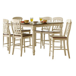 Homelegance - Homelegance Ohana 8-Piece Counter Height Dining Room Set in White - The design of Ohana collection captures the essence of a casual country home. Its antique white and warm cherry, or antique black and Warm cherry finishes give it a striking 2-toned appearance.