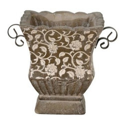 Privilege International Large Square Ceramic & Iron Floral Pot - Finding the perfect planter isn't so hard now that you've seen the Privilege International Large Square Ceramic & Iron Floral Pot. This square, ceramic pot affords you luxury and functionality. The mesmerizing tangle of flowers and vines will serve virtually any garden decor. Strong, iron handles mounted on either side make moving a breeze. Durable ceramics ensure this beauty will be usable as long as you need it. If you find one better, you'd better buy it.