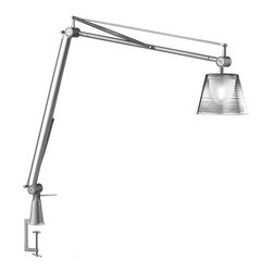 Flos - Archimoon K clamp light - This task lamp provides direct and diffused light. Acid-etched pressed borosilicate glass internal diffuser. Injection-molded polycarbonate diffuser, vacuum-aluminized inside. Gray painted die-cast aluminum diffuser support. This is the Table Clamp Version