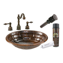 """Premier Copper Products - Premier Copper Products BSP2_LO19RBKDB 19"""" Stacked Stone Copper Sink Package - Premier Copper Products BSP2_LO19RBKDB 19"""" Stacked Stone Self Rimming Copper Sink Package"""