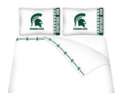 Sports Coverage - Sports Coverage NCAA Michigan State Spartans Microfiber Hem Sheet Set - Queen - NCAA Michigan State Spartans Microfiber Hem Sheet Set have an ultrafine peach weave that is softer and more comfortable than cotton. Its brushed silk-like embrace provides good insulation and warmth, yet is breathable.   The 100% polyester microfiber is wrinkle-resistant, washes beautifully, and dries quickly with never any shrinkage. The pillowcase has a white on white print beneath the officially licensed team name and logo printed in vibrant team colors, complimenting the new printed hems.    Features: -  Weight of fabric - 92GSM ,  - Soothing texture and 11 pocket,  -  100% Polyester,  - Machine wash in cold water with light colors,  - Use gentle cycle and no bleach ,  - Tumble-dry,  - Do not iron ,