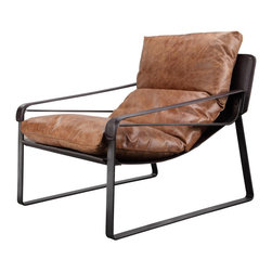 Steinbeck Club Chair - Sink into the Steinbeck Club Chair seat and imagine the rolling hills of Salinas Valley as you curl up with a classic read. Top-grain leather adds a refined note to the angular iron frame. Partner with an edgy solid wood coffee table for a slice of Californian-style comfort.
