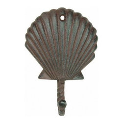 """Handcrafted Nautical Decor - Rustic Cast Iron Scallop Shell Key Hook 6"""" - Sea Shell Room Decor - This Rustic Cast Iron Scallop Shell Key Hook 5"""" is the perfect addition for any nautical themed home. Handcrafted from solid cast iron, this scallop shell key hook 5"""" is durable, functional and decorative. Easily mountable, display this decorative key hook to show those who visit your home affinity for the nautical sea-faring lifestyle."""