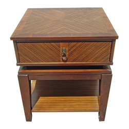 Mid-century Style End Table with Drawer - A classic Mid-century style end table, with warm glowing wood with classic Zebra wood inlaid on diagonal pattern. Nice size drawer and shelf.  Drawer is lined in a soft felt that's in perfect condition. This is a high end floor model, new and unused. Beautiful and rich.