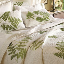 Fern Embroidered Organic Quilt And Sham - A quilt is the perfect weight alone in the summer or as a warm extra layer in winter. The embroidered ferns add an unexpected and pretty touch.